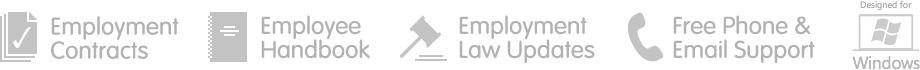 Support employment contracts, employee handbook and employment law updates, with free phone and email support. Designed for Windows.
